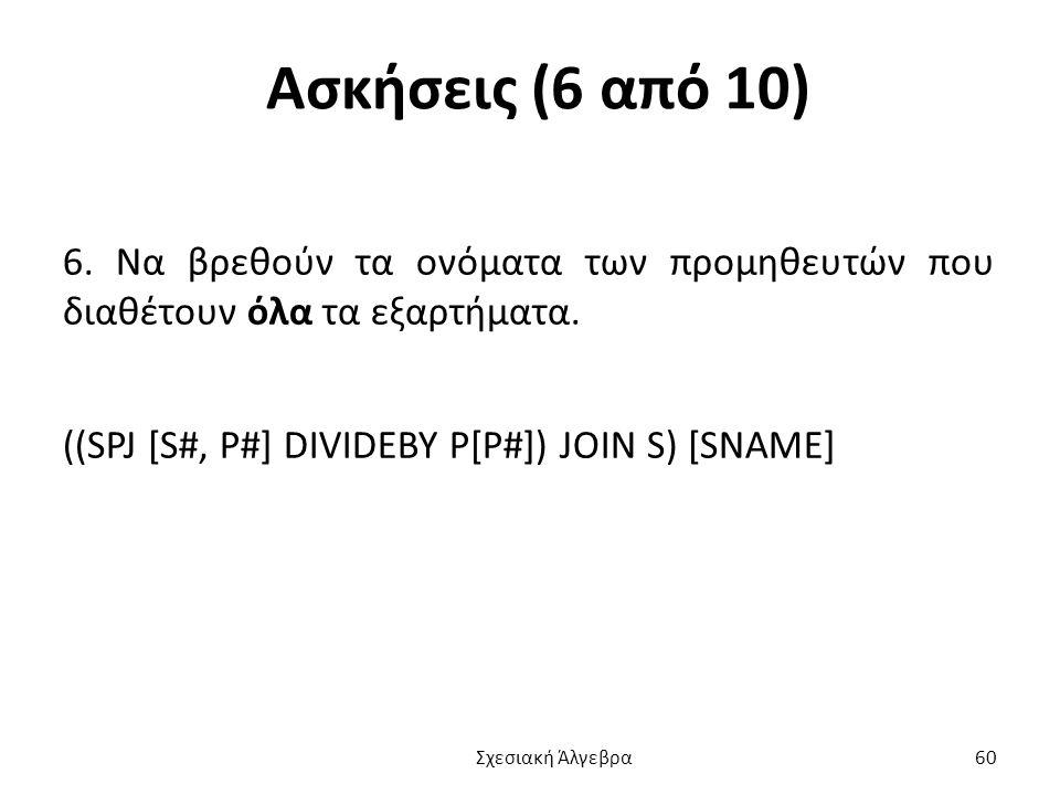 Ασκήσεις (6 από 10) 6. Να βρεθούν τα ονόματα των προμηθευτών που διαθέτουν όλα τα εξαρτήματα. ((SPJ [S#, P#] DIVIDEBY P[P#]) JOIN S) [SNAME]